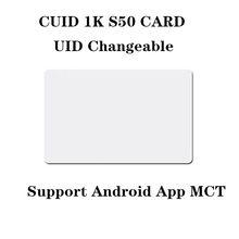 Cuid uid mutável nfc bloco de cartão 0 mutável writeable para s50 13.56mhz nfc chinês cartão mágico suporte android app mct