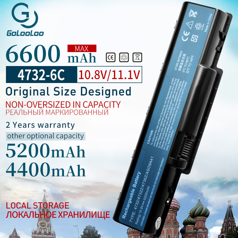 Golooloo 6600 MAh Laptop Battery For Acer Aspire 4732 4732Z 5732Z 5732ZG AS09A31 AS09A41 AS09A56 AS09A61 AS09A70 AS09A71 6cells