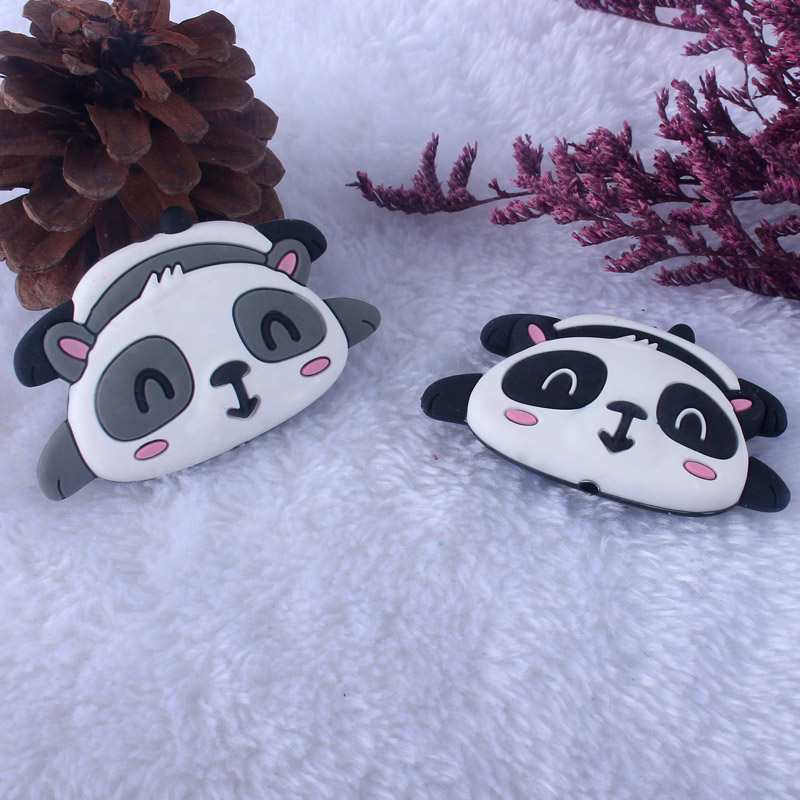 Image 5 - XCQGH 20pcs Silicone Cartoon Animal Panda Shape Teether Silicone Baby Molar Beads Pacifier Chain Accessories Baby TeetherBaby Teethers   -