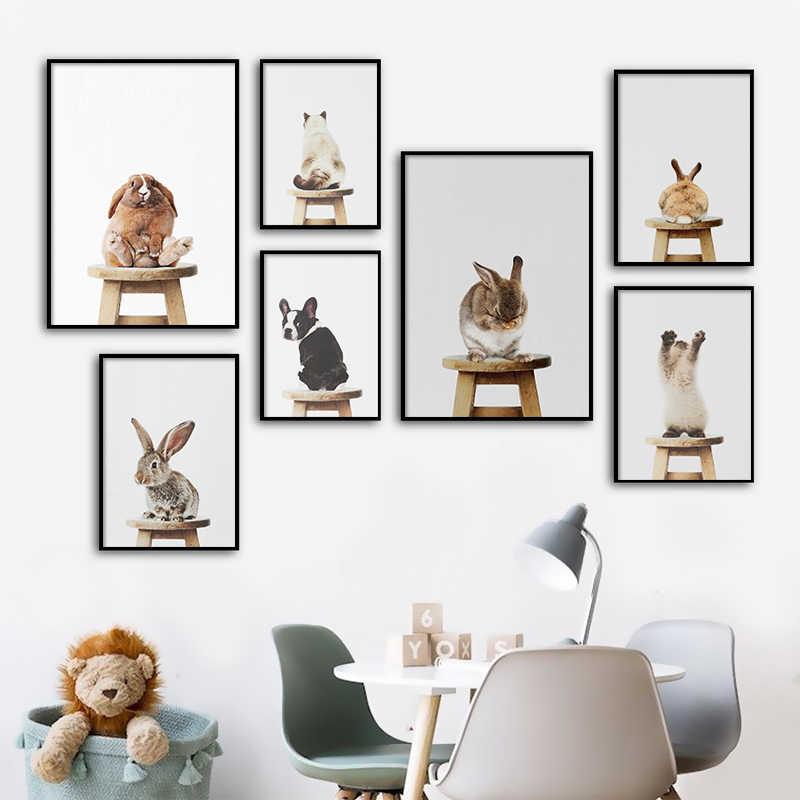아기 동물 스탠드 의자 포스터 토끼 개 고양이 캔버스 회화 보육 벽 예술 북유럽 그림 어린이 방 장식