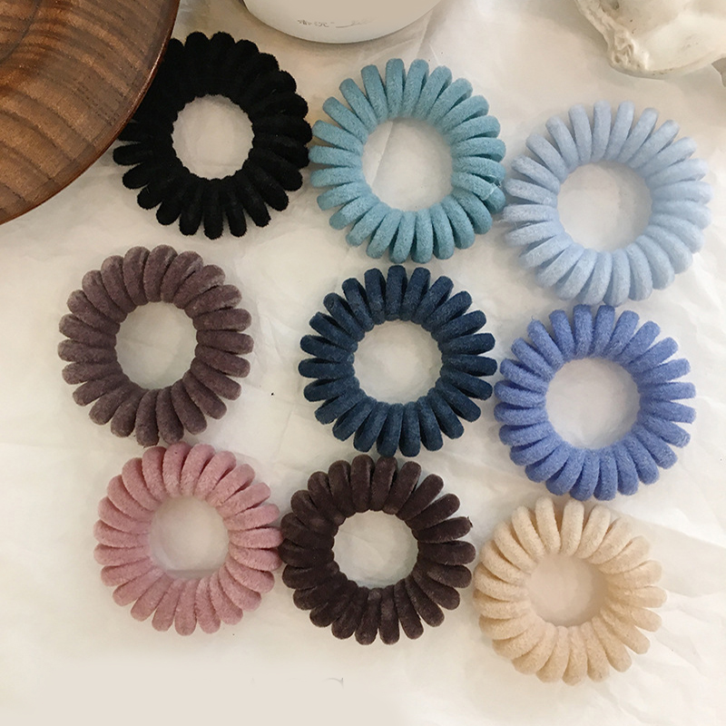 1PC Elastic Hair Bands Velvet Spiral Shape Ponytail Holders Hair Ties Gum Rubber Band Headwear Telephone Wire Hair Accessories