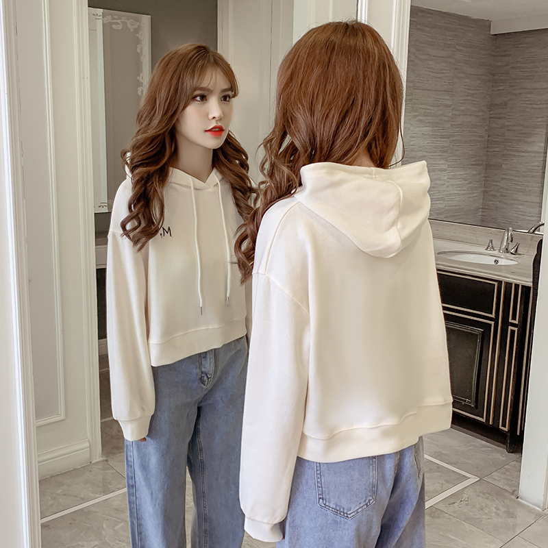 Fashion Street Hooded Sweatshirt for Women Autumn and Winter Casual Long-sleeved Solid Color Short Pullover Simple Hip Hop Top 80