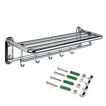 50CM Foldable Bathroom Towel Rack Holder Storage Hanger Kitchen Hotel ouble Towel Clothes Shelf With 5 Hooks Capacity 20KG