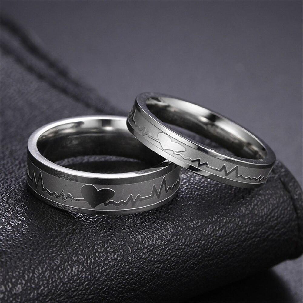 Loredana модное горячее сердце микро выпуклая нержавеющая сталь электрокардиограмма пары кольцо маленький палец хвост. Подарок для влюбленных