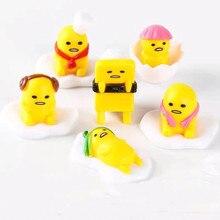 6pcs/set Japanese Sanrio Gudetama lazy egg doll indoor inside the car model toys