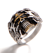 цены Stainless Steel Skull Rings Men Gold Skeleton Silver Man Ring Vintage Biker Male Rings Dropshipping