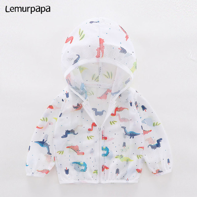 Baby Boy Girl Hooded Summer Rash Guards Prevent Mosquito Beach Outside Hoodies Sun Block Swearshirt Dinosaur Printing Clothes