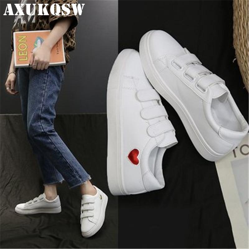 White Woman Leather Shoes 35-39 Fashion Women Shoes Cute Casual High Platform PU Leather Heart Women Casual Velcro Tennis Shoes