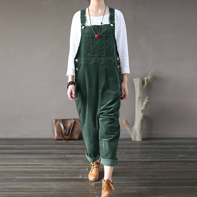 Casual Work Overalls ZANZEA Women Corduroy Jumpsuits Spring Long Harem Rompers Playsuits Vintage Solid Pantalons Female Pants