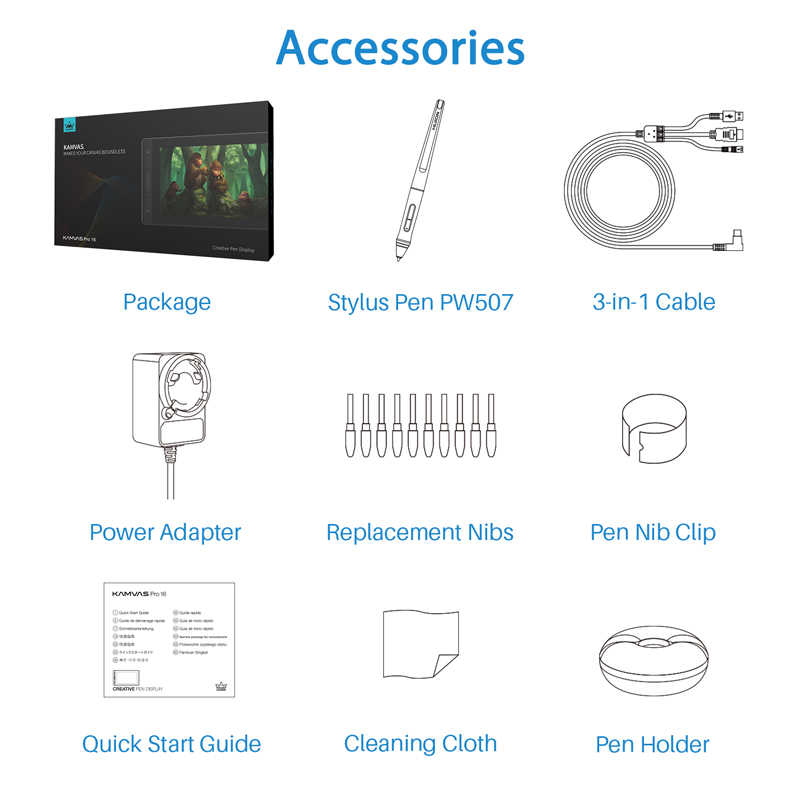 Huion kamvas プロ 16 15.6 インチ 266PPS グラフィックタブレット描画タブレットデジタルモニター 8192 圧レベルのショートカットキー