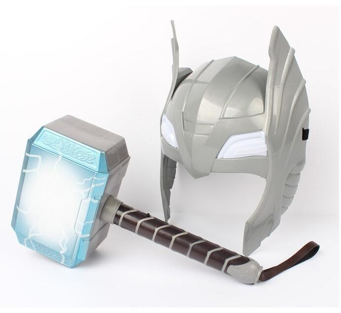 Child Cosplay The Avengers 2 Thor LED Light Luminous Sounding Helmet Weapon Hammer Quake Model Toy Costume Party Gift