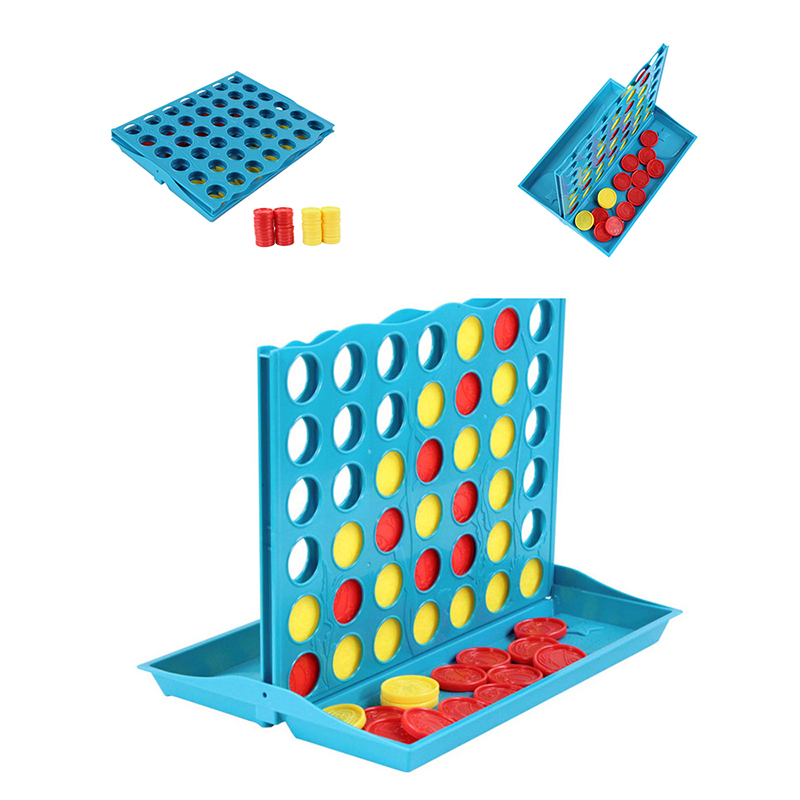 Stereoscopic 4 in a Row Connect Wins Funny Vintage Family Vertical Strategy Parlor Board Game Educational Puzzle Toys