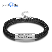 JewelOra Personalized Stainless Steel Men Bracelets Custom Engrave Names Multilayer Braided Rope Bracelets for Men Father Gifts personalized stainless steel braided rope charm bracelets custom name leather bracelet with 2 5 names beads for family men gifts