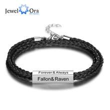 JewelOra personalizada de acero inoxidable de los hombres pulseras de grabar nombres multicapa pulseras de cuerda trenzada para hombres, regalos para padres
