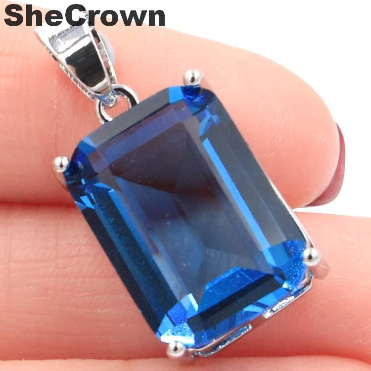 28x13mm Deluxe Big Rectangle Gemstone 18x13mm London Blue Topaz CZ Gift Silver Pendant