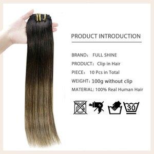 Накладные волосы на клипсе, полностью блестящие, 10 шт., 100 г, 100% натуральные волосы Remy на клипсе