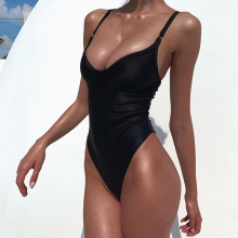 2021 Sexy stałe jednoczęściowy strój kąpielowy kobiety stroje kąpielowe body kostium kąpielowy damski Push Up Monokini wysokiej talii kostiumy kąpielowe bikini tanie tanio eleposture CN (pochodzenie) POLIESTER spandex WOMEN do pływania Dobrze pasuje do rozmiaru wybierz swój normalny rozmiar