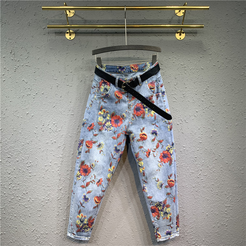 Woman Jeans High Waist Slim Loose Harem Pants Korean Style Vintage Floral Printed Casual Female Long Denim Trousers 2020 Fashion