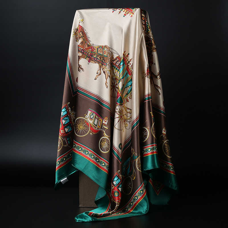Sciarpa del Hijab di modo Per Le Donne Scialli Quadrati Raso di Seta Dei Capelli Sciarpe Femminile 90*90cm Fazzoletto Bandana Testa Collo sciarpe Per Le Signore
