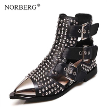 Fashion Buckle Genuine Leather Punk Rivets Motorcycle Ankle Summer Boots Woman Boots Flat Sandals Casual Shoes Women Brand стоимость