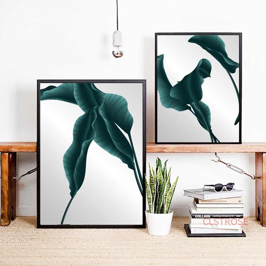Скандинавская Картина на холсте минималистский большой лист монстера зеленый постер с растением модульные настенные картины для Гостиная украшение дома