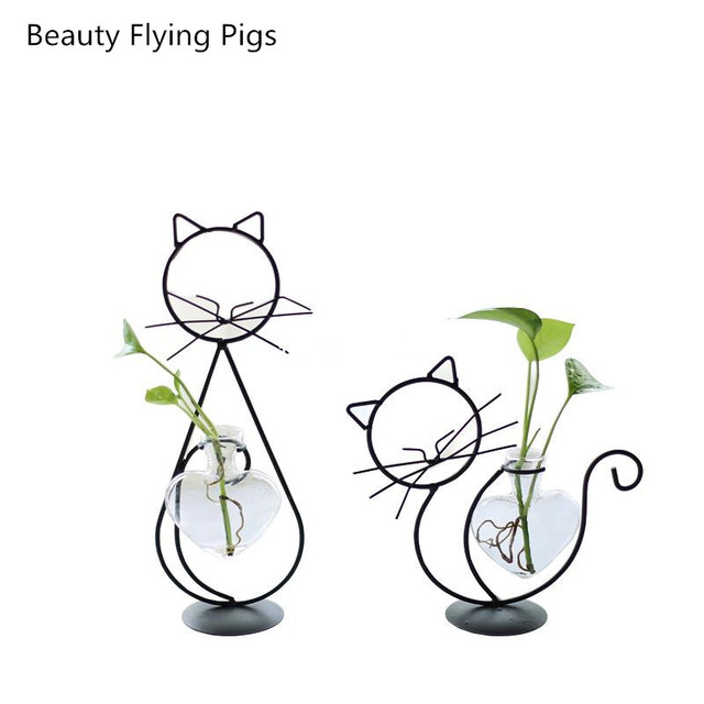 Home Party Decoration Vase Abstract Black Lines Minimalist Abstract Iron Vase Dried Flower Vase Racks Nordic Flower Ornaments 2
