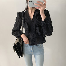 HziriP Stylish Pleated Ruffles Sexy Solid Tops Casual New 2020 All-Match Retro Slimming V-neck Women