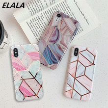 ELALA Glossy Geometric Marble Phone Cases For iPhone 11 Pro XR XS Max X 6S 7 8Plus Soft Electroplate Candy Color Case Cover Capa