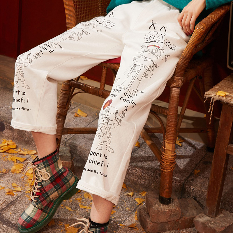 ELFSACK White Cartoon Print Straight Korean Style Women Trousers 2020 Spring New Loose Casual Office Ladies Daily Pants