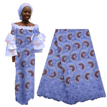 Latest African Cotton Lace Fabric Swiss Lace Fabric High Quality French Nigerian Tulle Lace with Stones For Woman Dress 2019(China)