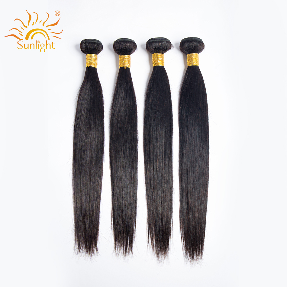 Peruvian Straight Hair Bundles With Frontal 3 / 4 Bundles Sunlight Human Hair With Lace Frontal Closure Non-Remy Hair Extension