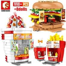 SEMBO City Street View edifici blocchi amici hamburger gelateria camion negozio di alimentari mattoni casa giocattoli per bambini
