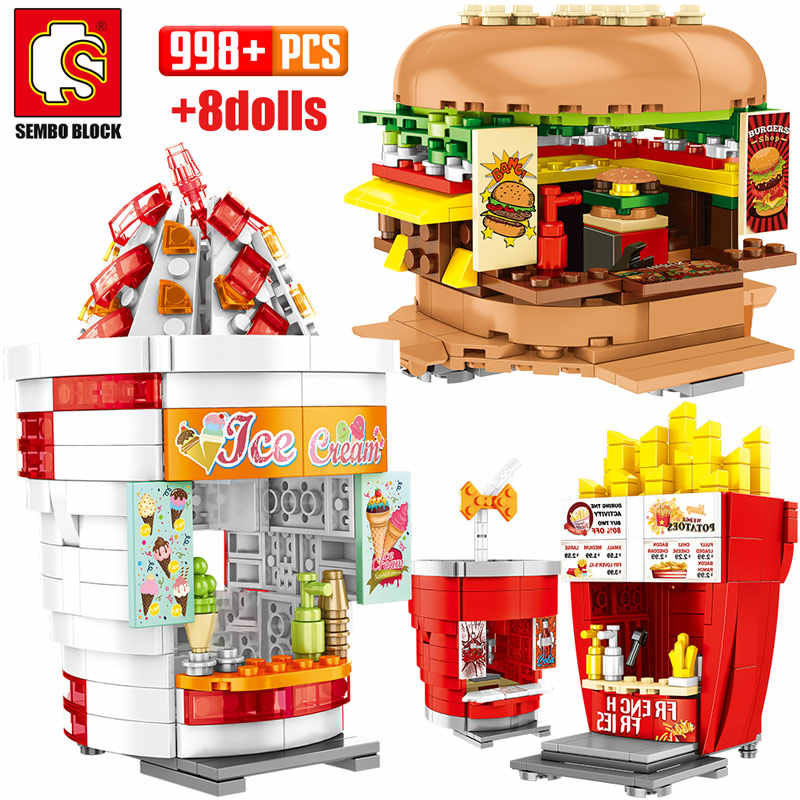 SEMBO şehir sokak görünümü binalar blokları arkadaşlar hamburger dondurma dükkanı kamyon gıda mağaza tuğla ev oyuncaklar çocuklar için