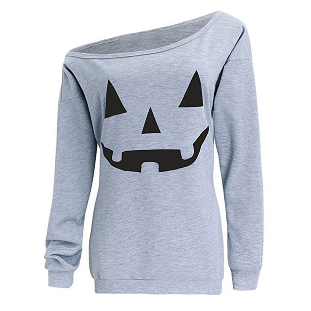 Lady Halloween Pumpkin Print Long Sleeve Skew Collar Slouchy Sweatshirt Pullover 2