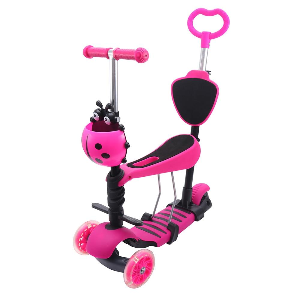 3 In 1 Mini Kick Wheel Scooter Flashing LED Wheels Tilt Push Seat Kids Children Birthday Gift Fun Sport Toy