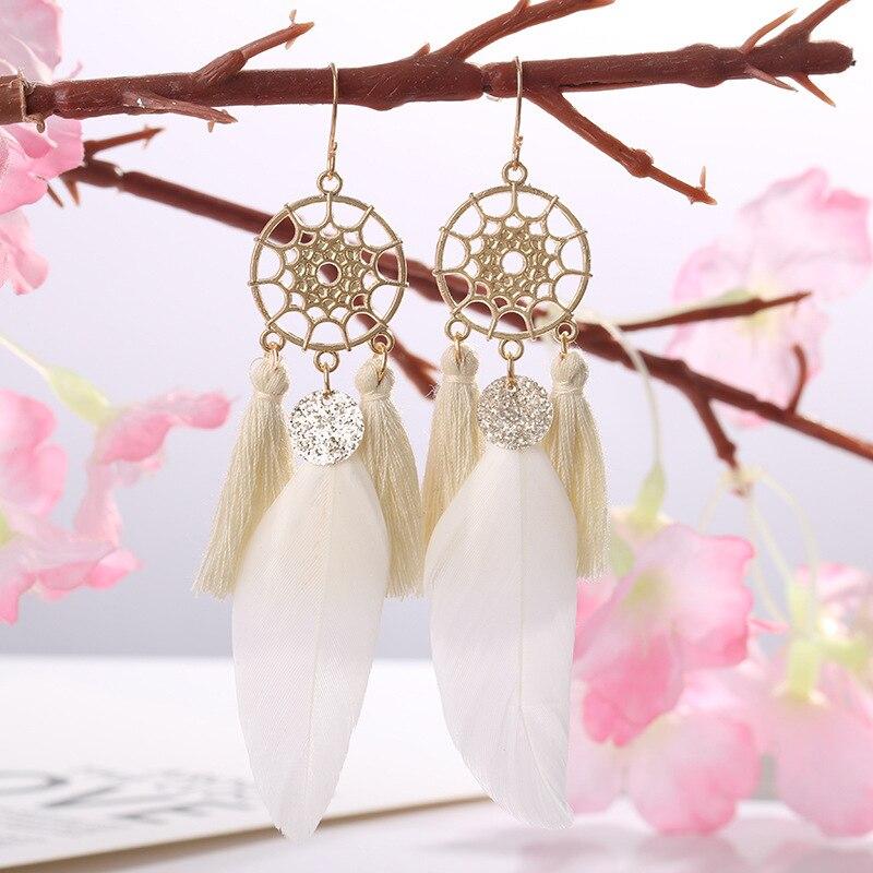 Dreamcatcher Vintage Boho Feather Tassel Earrings Fashion Jewelry Boucles D Oreille Femme 2020 Dangle Earrings for Women Party