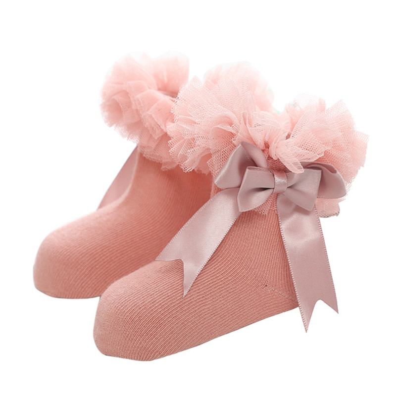 Girls Baby  Tutu Socks Knee High Satin Bow Socks Tulle Frilly Kids For Age 2-8