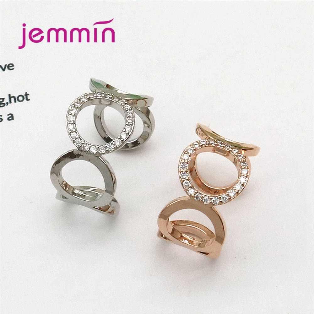 Anillos de apertura de Plata de Ley 925 para mujer Exageran el regalo de cumpleaños circular Metal coreano brillante regalo de joyería de Frienship
