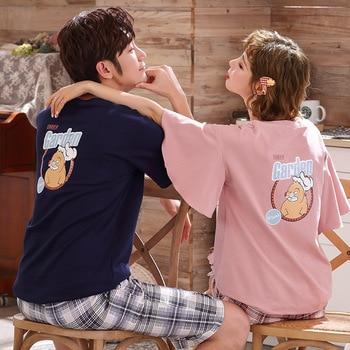 2PCS Lovers Pajamas Set Cute Cat Pattern Sleepwear Summer Round Neck Nightwear Fashion Short Pijama Pyjama Cartoon Underwear