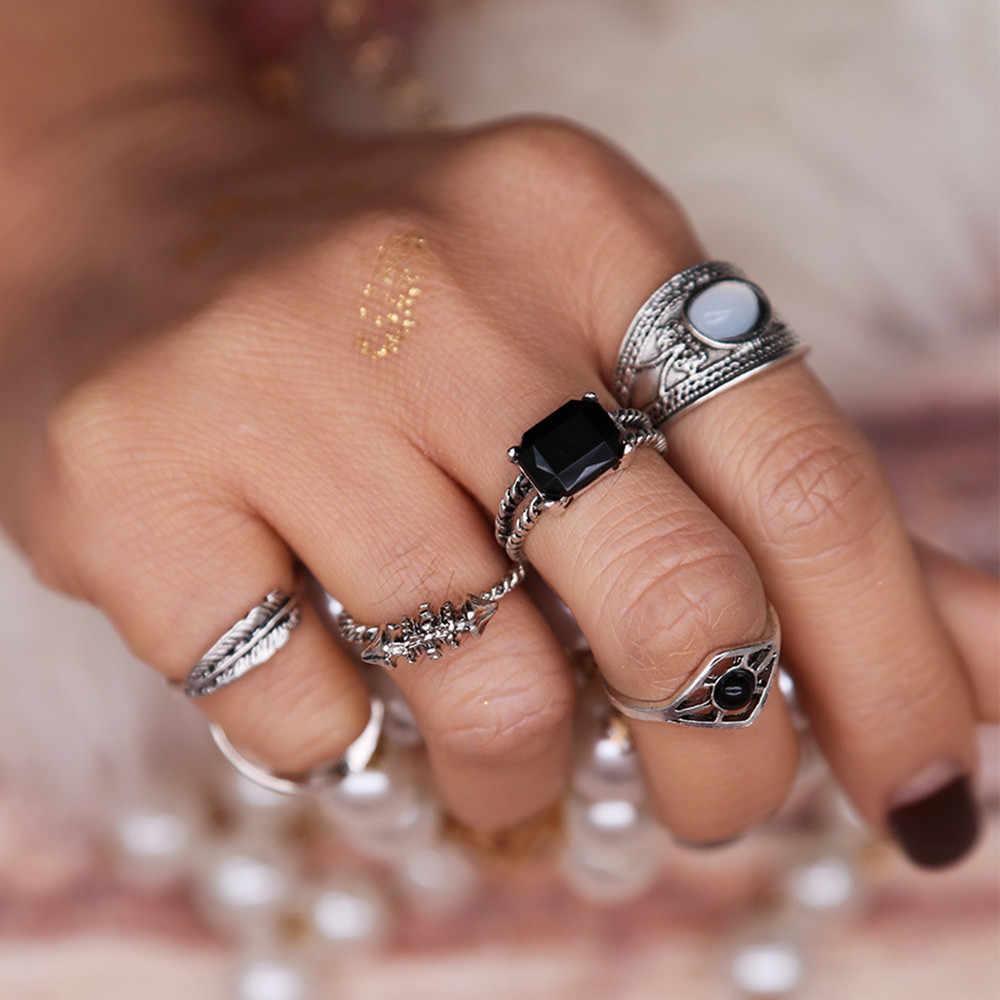 6PCS VINTAGE Women's VINTAGE แหวนเงินโบราณชุด Hollow OUT ชุดคริสตัล Boho คริสตัลแหวนแฟชั่นเครื่องประดับของขวัญ FX