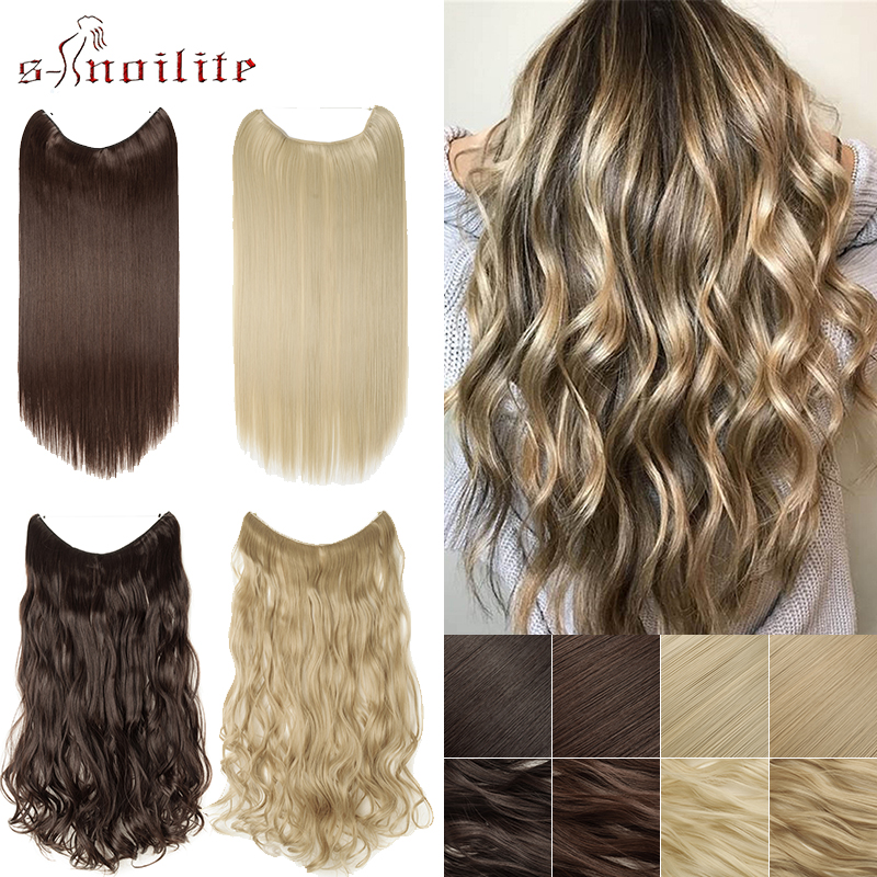 SNOILITE Long Curly Hair Extensions Fish Line Hair Wire Natural Synthetic Hair No Clips Invisible Hairpieces For Women