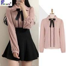 2020 wiosna kobiet słodkie topy styl Preppy rocznika Japaneses projekt koreański przycisk eleganckie formalne koszule bluzki różowy biały 12020