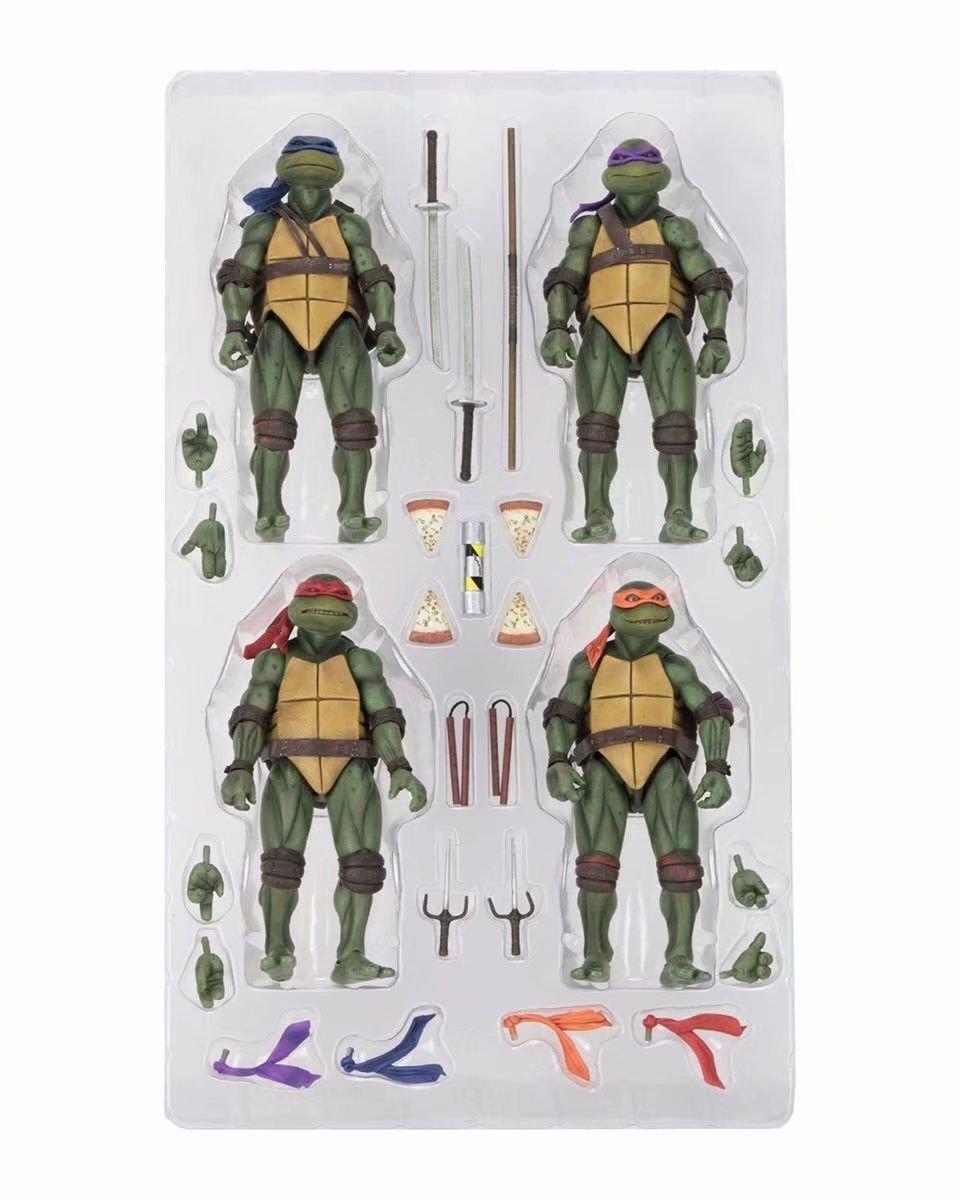18cm 4pcs/set NECA Classic Movie Film 1990's  Raphael Leonardo Michelangelo Donatello Action Figure Collection Model Toys Doll