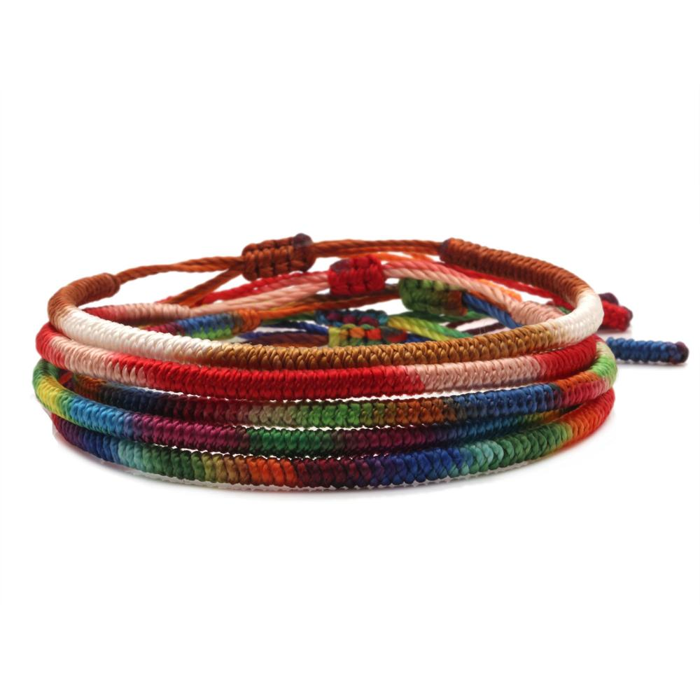 Tibetan Buddhist Lucky Knot Gradient Ramp Rope Handmade Bracelet Women Men 2020 New Fashion String Pull Cord Surf Jewelry Gift