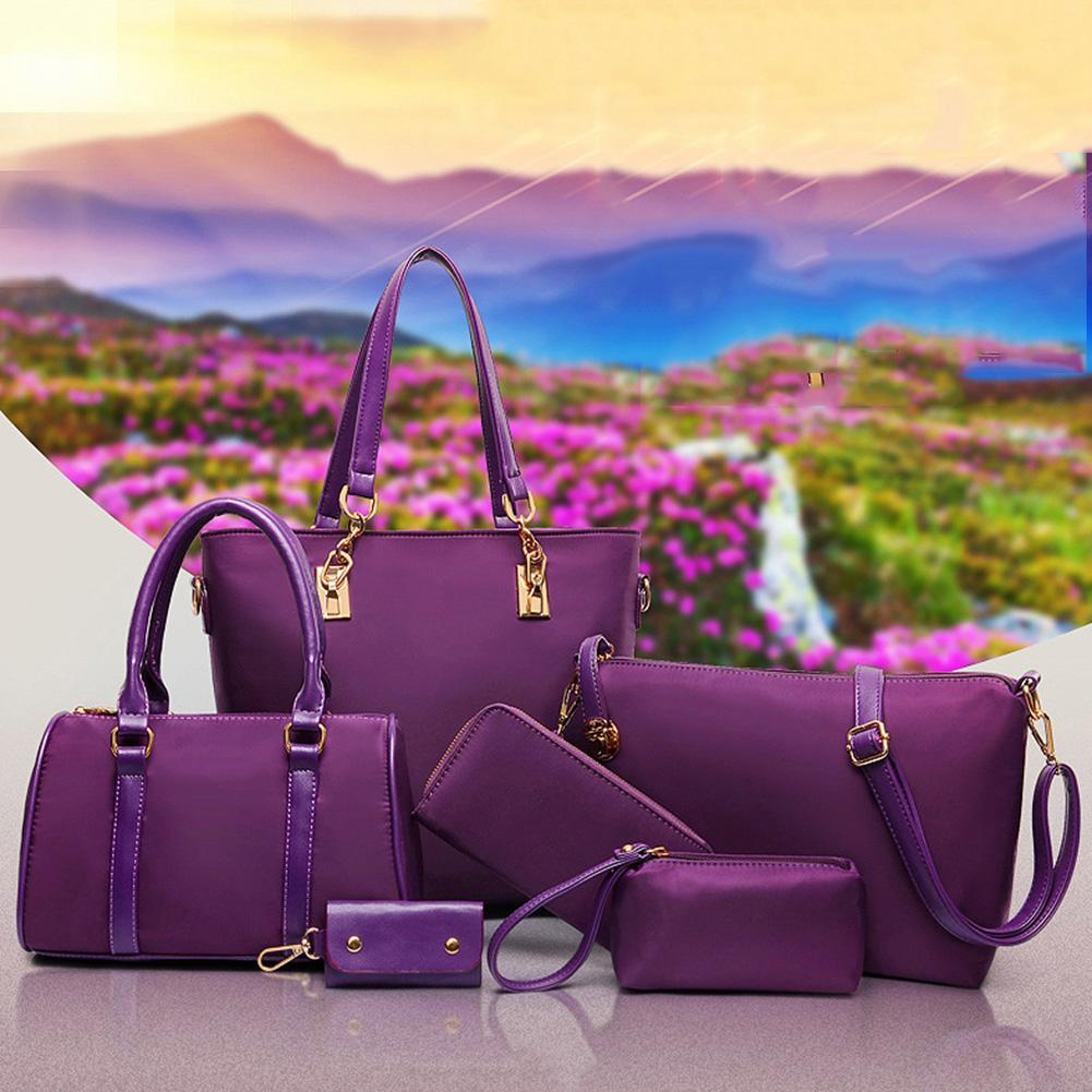 6Pcs/Set Lady Solid Color Faux Leather Shoulder Bag Handbag  Wallet Purse