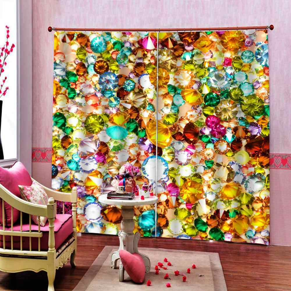 3D Window Curtains Living Room wedding bedroom Cortinas Drapes golden accessories curtains