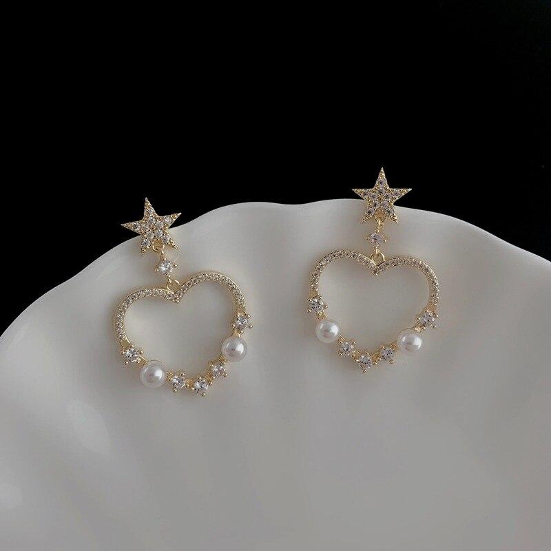Orgin Summer Korean Fashion Love Heart Pearl Star Dangle Earrings for Women Harajuku Hollow Out Earrings Wedding Jewellery