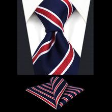 Набор галстуков в полоску для мужчин, красные, синие шелковые классические аксессуары, вечерние галстуки для мужчин, свадебные удлиненные Галстуки