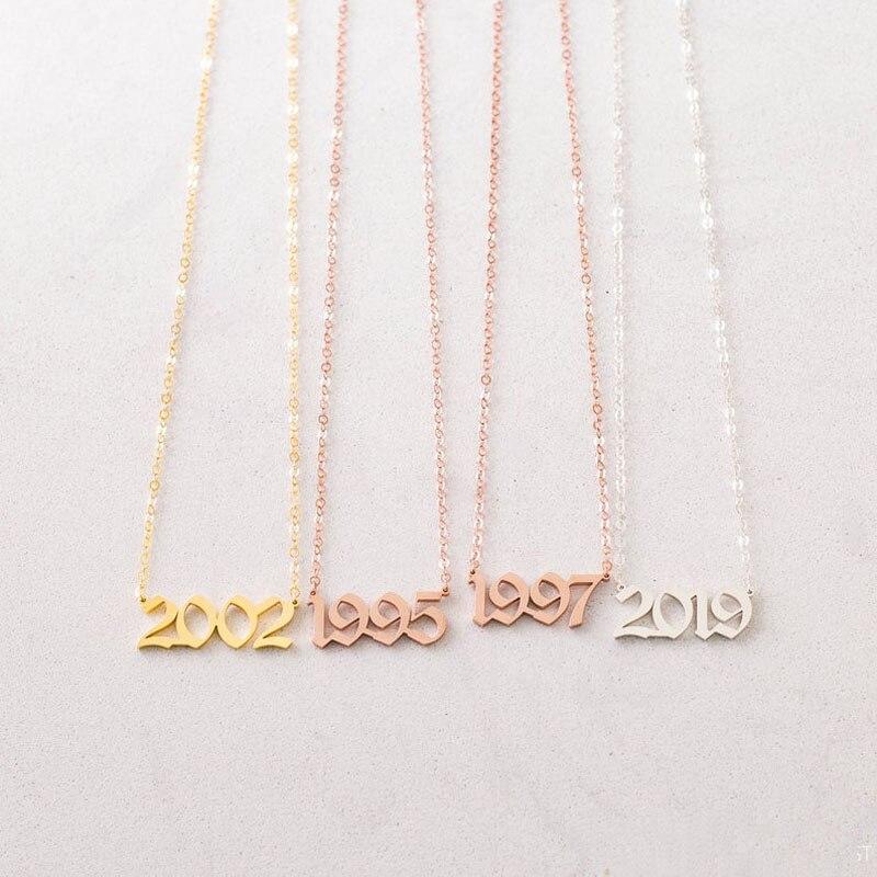 Готический номер 2003 2004 2005 дату рождения год Цепочки и ожерелья BFF ювелирные изделия крошечный лакомство длинная цепь изготовленный на заказ...