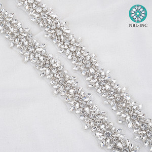 Image 3 - Apliques de diamantes de imitación para vestido de novia, cinturón de banda para vestido de boda WDD0278, oro rosa, 10 yardas, venta al por mayor
